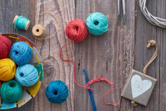 yarn on wood